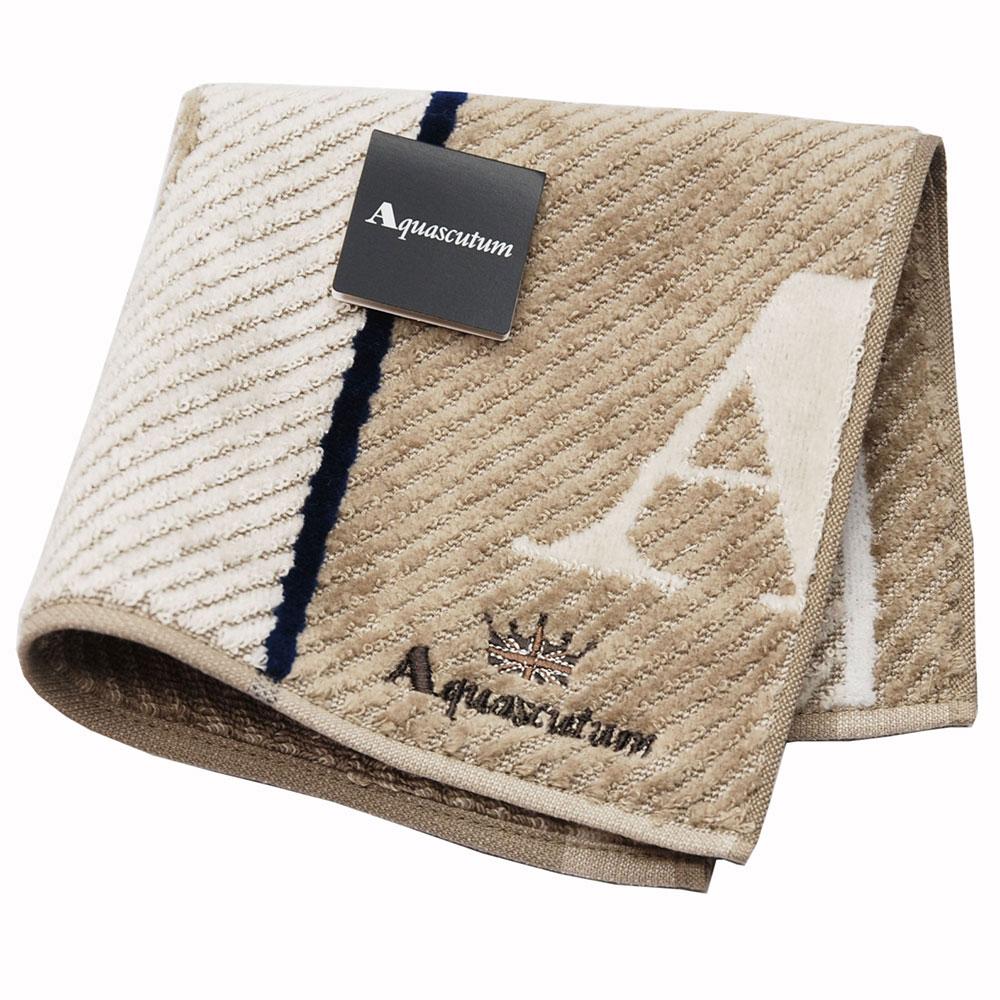Aquascutum 經典品牌大圖騰LOGO字母刺繡小方巾(卡其系底)