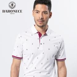 BARONECE 百諾禮士休閒商務  男裝  吸排絲光印花短袖POLO衫-白紫色(1188273-28)