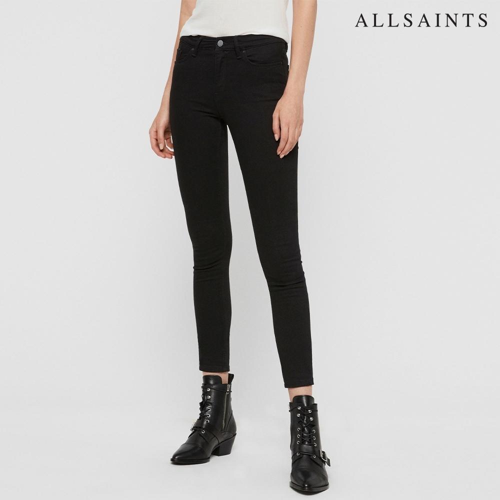 ALLSAINTS GRACE 經典暢銷復古緊身棉質牛仔褲-黑
