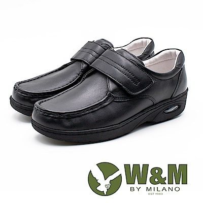 W&M 皮質氣墊彈力魔鬼氈護士鞋 女鞋 - 黑(另有白)