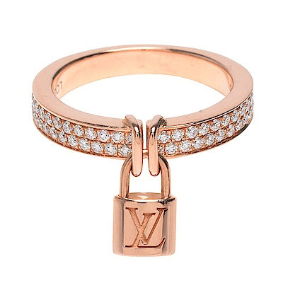 LV Q9H40A經典LOCKIT品牌 LOGO刻印掛鎖玫瑰K金鑽石戒指(#56)
