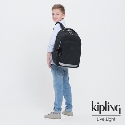 Kipling 質感黑經典拉鍊後背包-CLASS ROOM