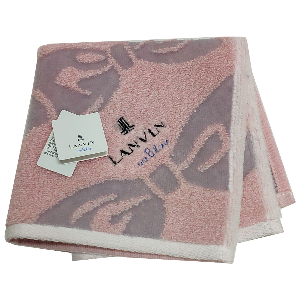 LANVIN en bleu 蝴蝶結圖騰品牌LOGO刺繡小方巾(粉紅系)