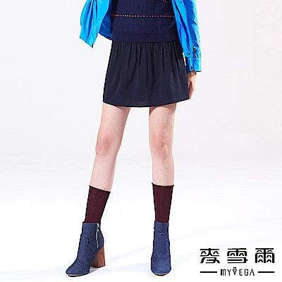 【麥雪爾】素面百搭A字短褲裙-深藍