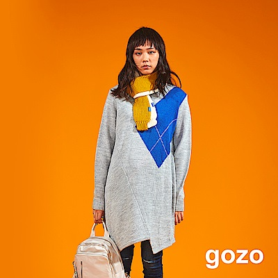 gozo 幾何拼接長版針織上衣(二色)
