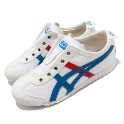 Onitsuka Tiger 休閒鞋 Mexico 66 Slip-On 童鞋 OT 鬼塚虎 帆布 無鞋帶 穿搭 中童 白 藍 1184A085100