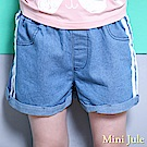 Mini Jule 短褲 側線條造型反摺褲管鬆緊牛仔短褲(淺藍)