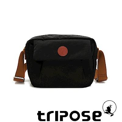 tripose PAN微皺尼龍橫式斜背包-潮感黑