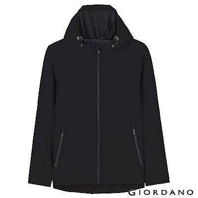 GIORDANO 男裝 fleece搖粒絨連帽防風外套-04 標誌黑