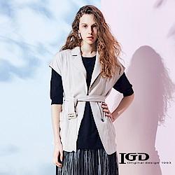 IGD英格麗 開襟翻領綁帶外罩式外套-卡其