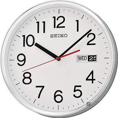 SEIKO 精工 都市時尚星期日期掛鐘(QXF104S)-白/30.3cm