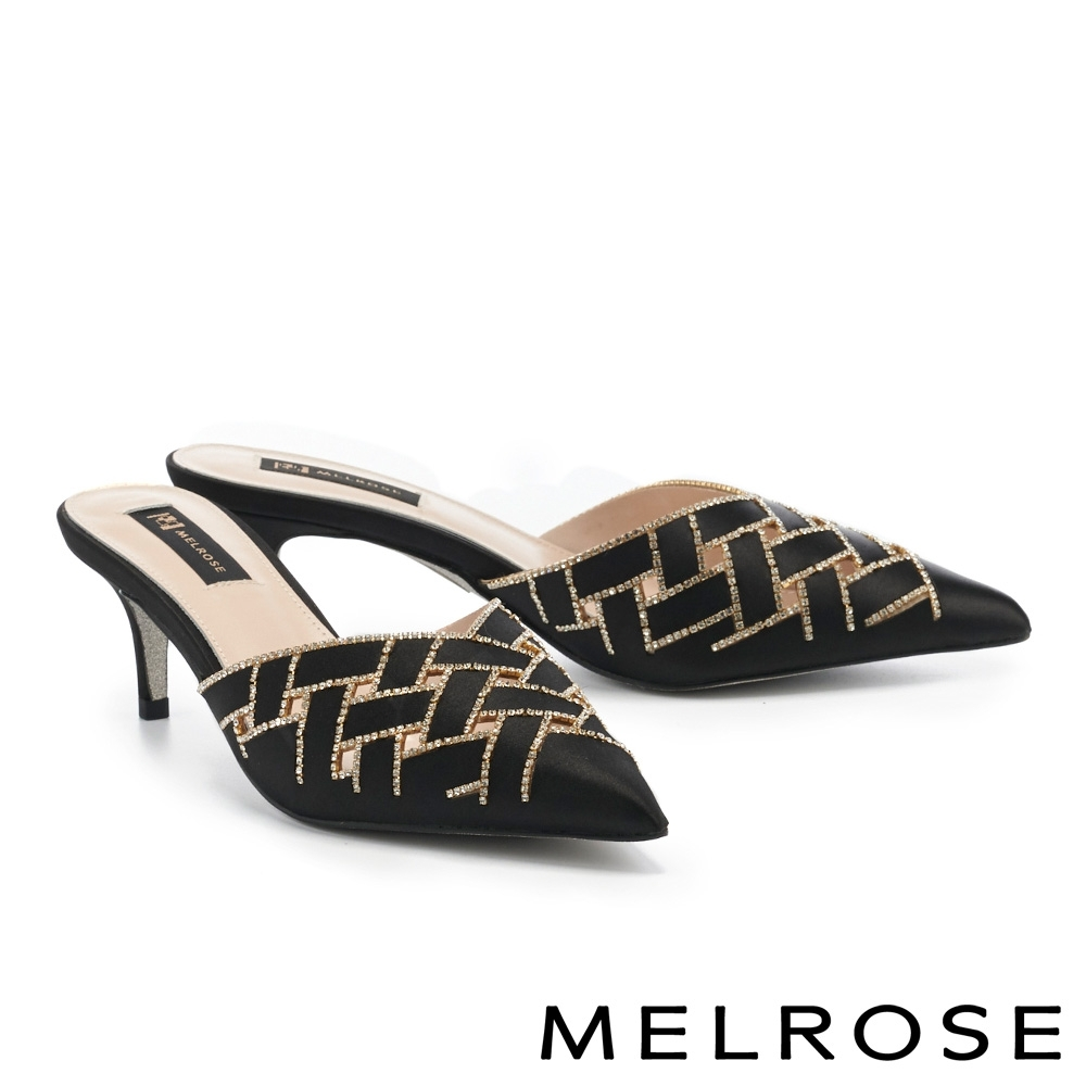 穆勒鞋 MELROSE 奢華時尚鏤空水鑽緞面尖頭穆勒高跟拖鞋-黑