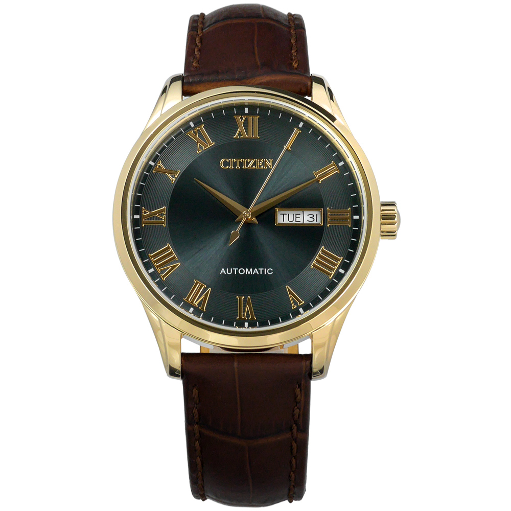 CITIZEN 星辰表 羅馬時標自動上鍊機械錶壓紋牛皮手錶-灰藍x香檳金框x咖啡/41mm