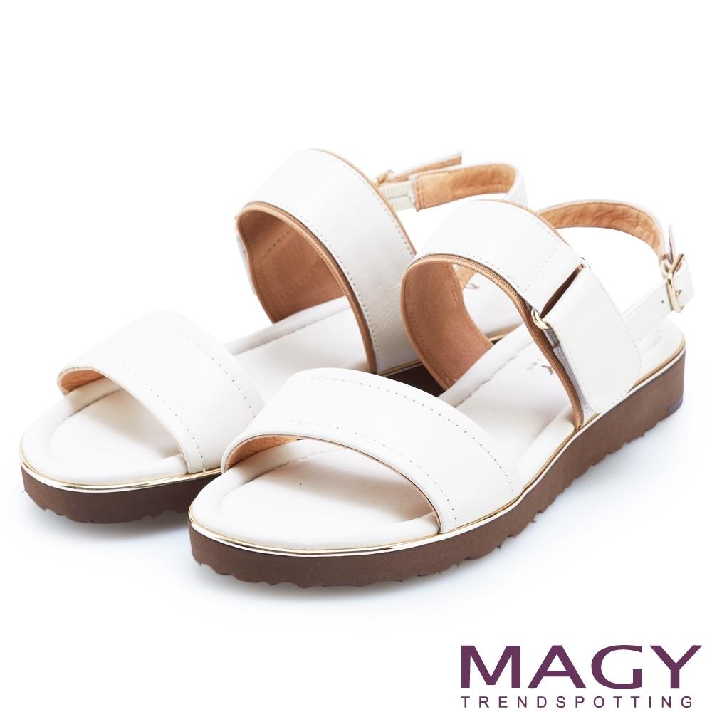 MAGY 經典樂活二字真皮平底涼鞋 白色