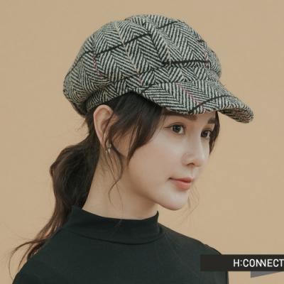 H:CONNECT 韓國品牌 配件 - 復古格紋報童帽 - 棕