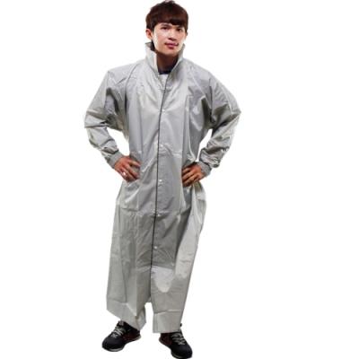 JUMP新二代前開素色雨衣-銀色/鐵灰(顏色隨機)-超大5XL+通用鞋套