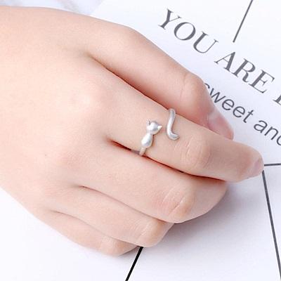 iSFairytale伊飾童話 跳躍貓咪 絲光磨砂白銀銅鍍30銀開口戒指