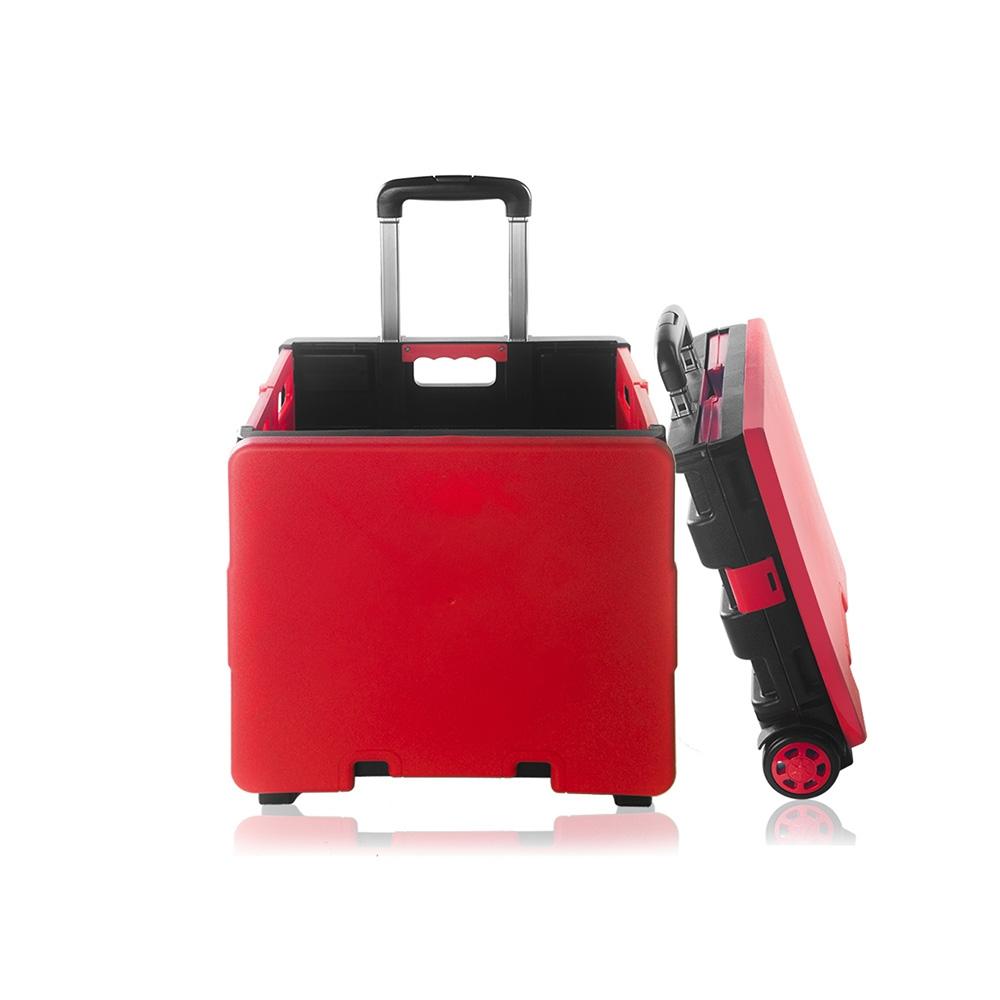 【OMyCar】升級版 摺疊魔方收納車(附上蓋)鋁製拉桿 購物車PU耐磨滾輪 耐重35公斤