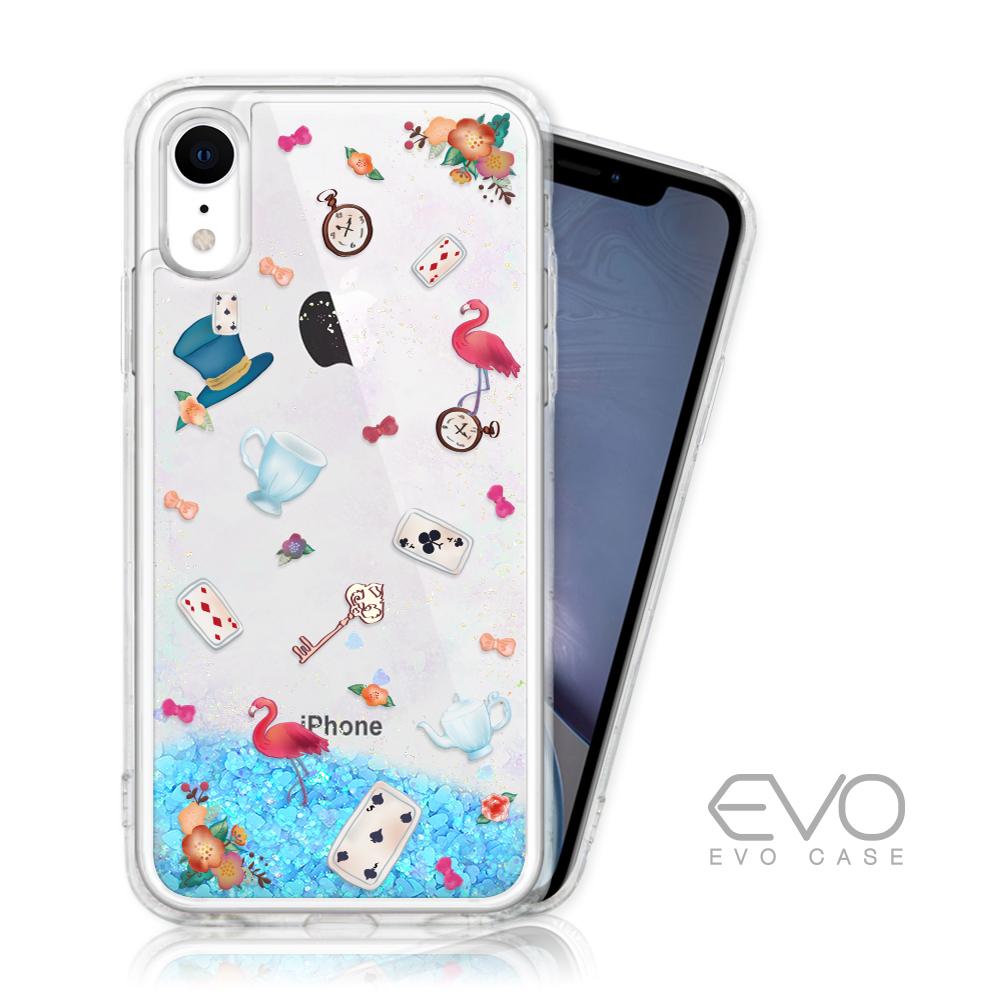 EVO CASE iPhone XR 藍色閃粉亮片流沙手機殼 - 愛麗絲