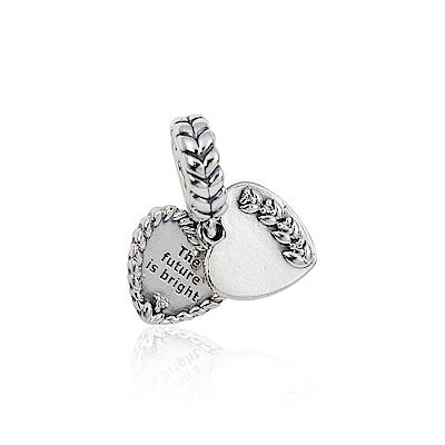 Pandora 潘朵拉 明亮種子愛心刻字吊牌 垂墜純銀墜飾