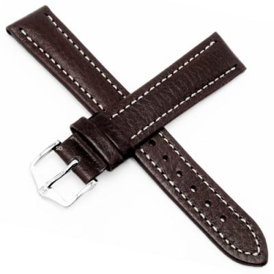 海奕施 HIRSCH Buffalo L 牛皮手錶帶-深棕