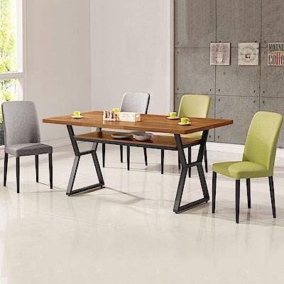 Homelike 德爾工業風5尺餐桌椅組(一桌四椅)-150x88x82cm