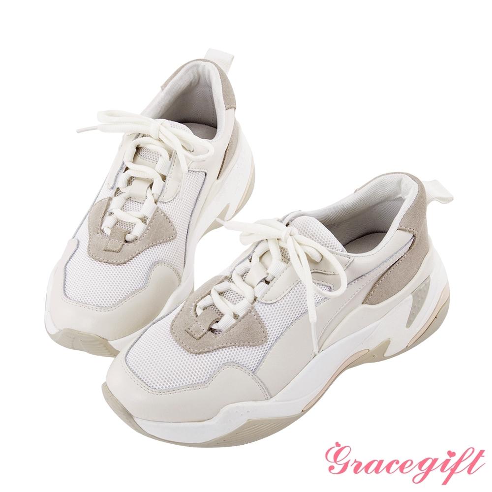 Grace gift-百搭異材質拼接老爹鞋