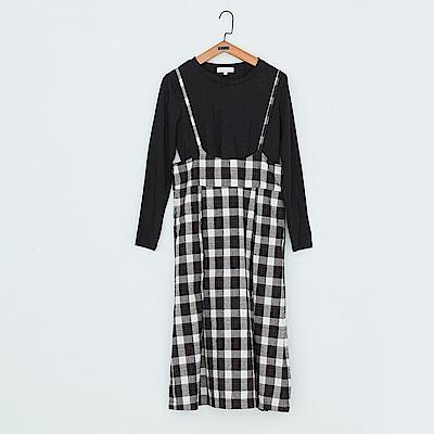 gozo 黑白方格紋二件式吊帶裙(二色)