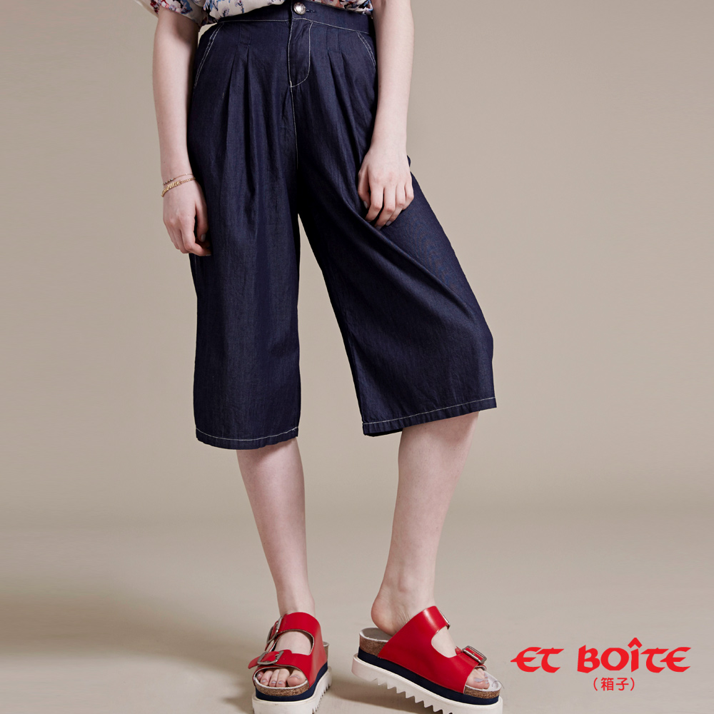 ETBOITE 箱子 BLUE WAY 輕薄七分寬褲(深藍)