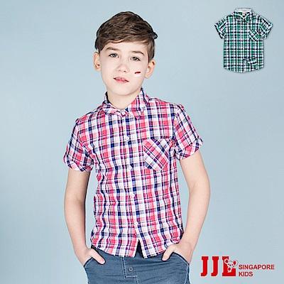 JJLKIDS 經典格紋配色短袖純棉襯衫(2色)