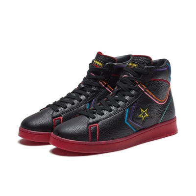 CONVERSE PRO LEATHER MID BLACK/BLACK/GYM RED 男女鞋 167332C