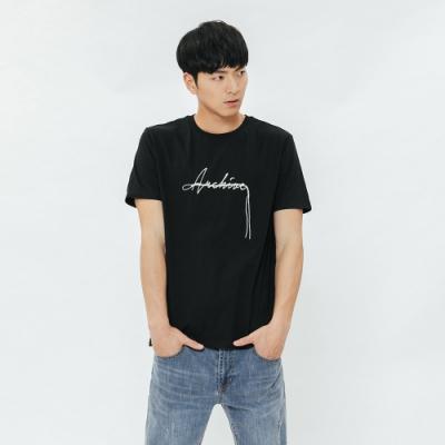 H:CONNECT 韓國品牌 男裝-簡約草寫文字T-shirt-黑