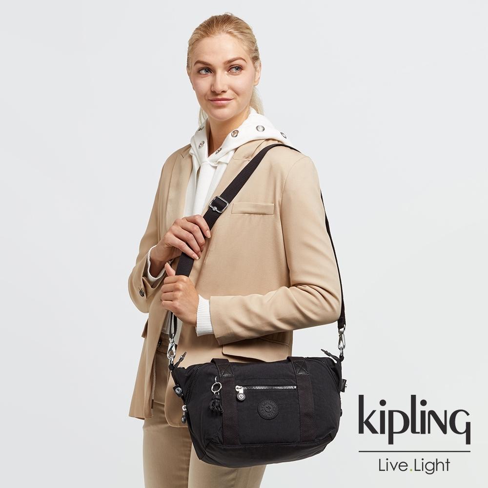 Kipling 曜岩黑品牌經典圓標手提側背包-ART MINI