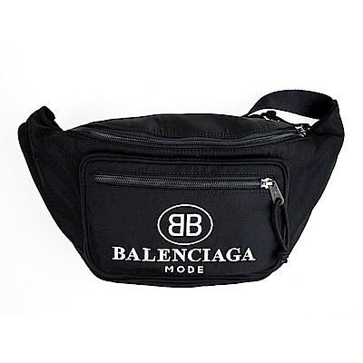 BALENCIAGA 新款英文字母大LOGO尼龍腰包/胸揹包 (黑色)