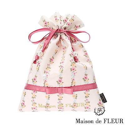 Maison de FLEUR 玫瑰印花抽繩包/束口袋