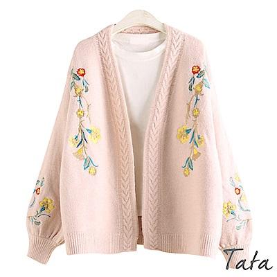 花刺繡燈籠袖針織外套 共三色 TATA