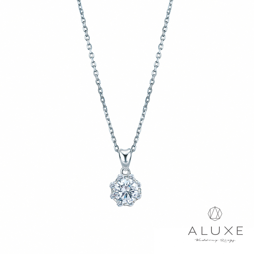 ALUXE亞立詩 18K金30分愛心爪完美車工鑽石項鍊