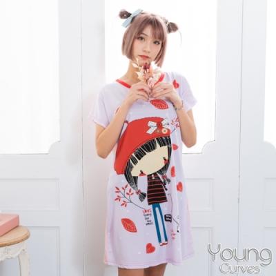 睡衣 牛奶絲質短袖連身睡衣(C01-100714紅帽女孩與狗) Young Curves