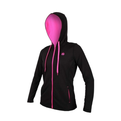 FIRESTAR 女連帽吸溼排汗針織夾克-慢跑 路跑 連帽外套 黑螢光粉