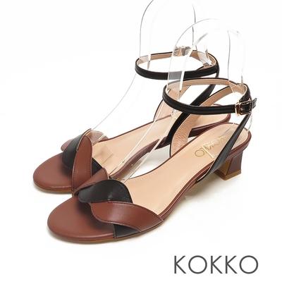 KOKKO優雅羊皮麻花小貓跟踝帶涼鞋咖啡色