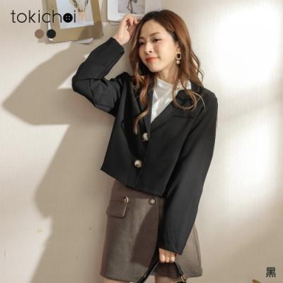 東京著衣 時髦姊姊琥珀釦短版西裝外套(共二色)