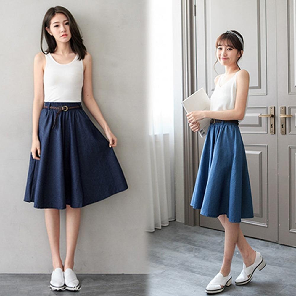 【韓國K.W.】獨具個性A字牛仔風中裙-2色