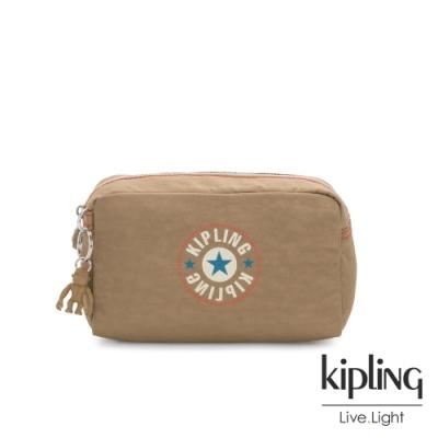 Kipling 復古卡其撞色大LOGO長形化妝包-GLEAM