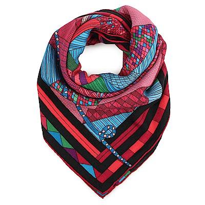 HERMES Patchwork Horse 拼布馬圖騰羊絨混絲方型披巾/圍巾-黑紅色