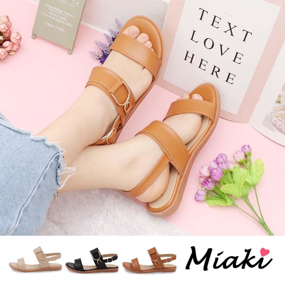 Miaki-涼鞋.韓流造型飾釦平底涼鞋 (棕色系)