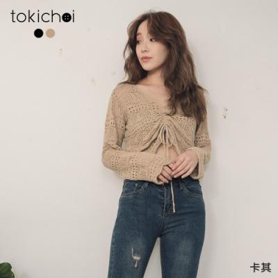 東京著衣 微性感鏤空勾織抽繩短版針織上衣(共二色)