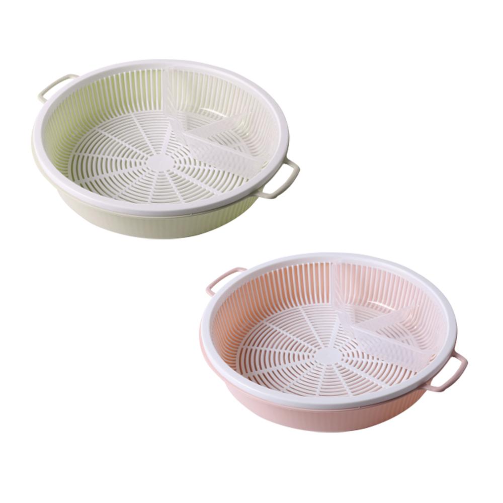 【Incare】超大容量PP材質火鍋蔬菜萬用瀝水盤(2色可選/2入組)