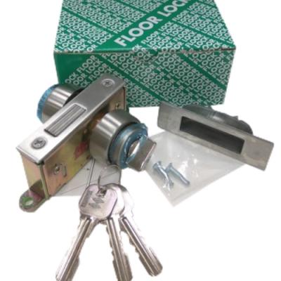 LS-308隱藏式地鎖單頭小圈適用門厚3-4CM自動門地鎖暗閂鎖單面鎖白鐵