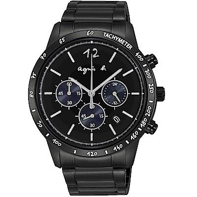 agnes b.魔力三眼計時腕錶(BU2002X1)-黑/43mm
