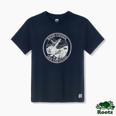 Roots男裝-海洋友善系列 拯救海洋有機棉短袖T恤-藍色